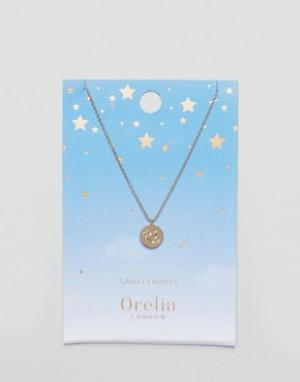 Orelia Ожерелье с подвеской-диском Стрелец. Цвет: золотой