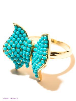 Кольцо Infiniti. Цвет: бирюзовый, золотистый