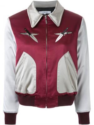 Куртка-бомбер с вышивкой Murral. Цвет: телесный