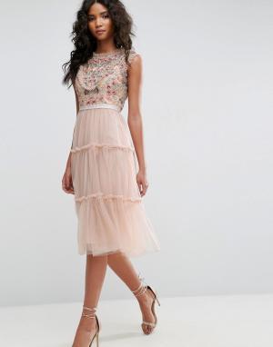 Needle & Thread Платье миди из тюля с декоративной отделкой. Цвет: розовый