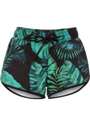 Пляжные шорты (черный/зеленый) bonprix. Цвет: черный/зеленый
