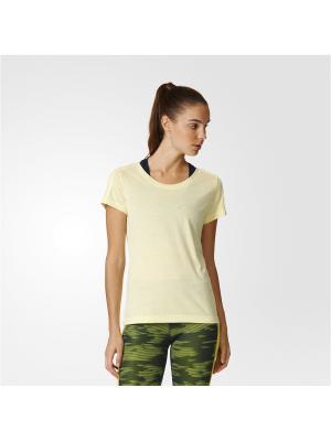 Футболка спортивная жен. ESS 3S SLIM TEE Adidas. Цвет: желтый