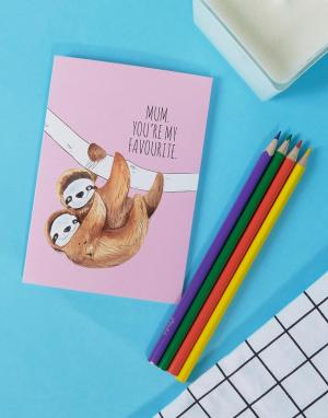 Jolly Awesome Открытка Favourite Sloth. Цвет: мульти