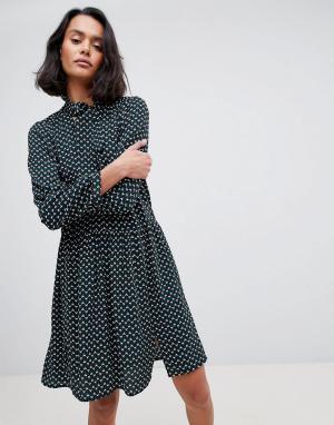 See U Soon Платье с геометрическим принтом и бантом. Цвет: зеленый