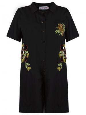 Комбинезон с вышивкой Isabela Capeto. Цвет: чёрный