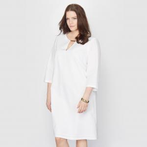 Платье изо льна и хлопка TAILLISSIME. Цвет: белый