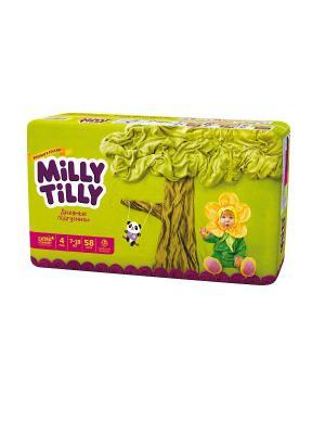Milly Tilly Дневные подгузники для детей  Макси 4 (7-18кг) 58шт.. Цвет: белый