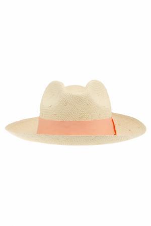 Соломенная шляпа Clasico Natural Knots Artesano. Цвет: кремовый, коралловый