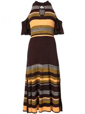Платье в полоску с открытыми плечами Apiece Apart. Цвет: красный