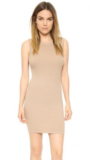 Мини-платье без рукавов из ткани в рубчик Enza Costa. Цвет: мохаве