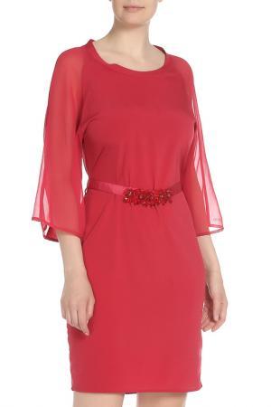 Платье с шифоновыми свободными рукавами и поясом Liu Jo. Цвет: малиновый