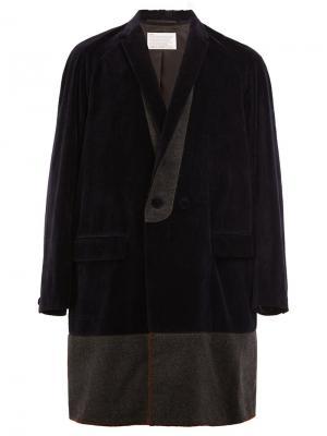 Пальто с воротником-шалька Kolor. Цвет: синий