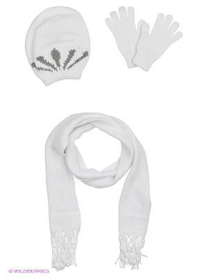 Шапка;  шарф; перчатки Krife. Цвет: белый, светло-серый, серебристый
