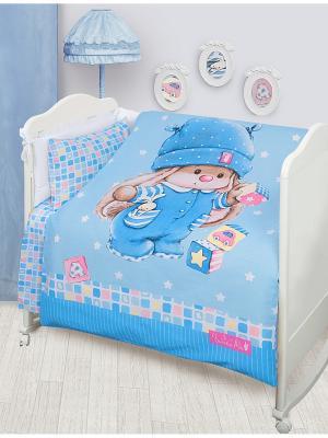 Комплект постельного белья детский Зайка с кубиками н(1)40*60 Ми. Цвет: голубой