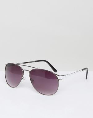 AJ Morgan Солнцезащитные очки-авиаторы в оправе из темно-серого металла Morga. Цвет: серебряный