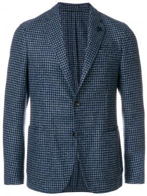 Пиджак с узором елочкой Tomas Maier. Цвет: синий