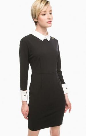 Короткое черное платье с контрастными вставками POIS. Цвет: черный