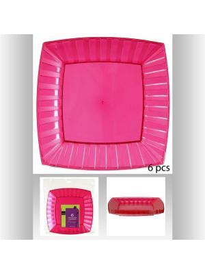 Набор тарелок квадратных пластиковых для пикника из 6 шт, 20 см JJA. Цвет: фуксия