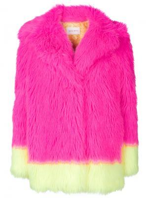 Шуба дизайна колор-блок Alberta Ferretti. Цвет: розовый и фиолетовый