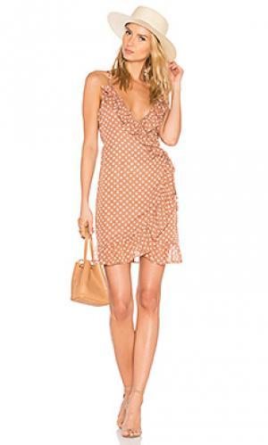 Платье ruffle caliente LIONESS. Цвет: серо-коричневый