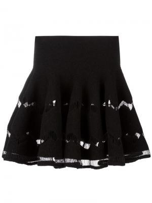 Плиссированная юбка с подолом-годе Alaïa Vintage. Цвет: чёрный