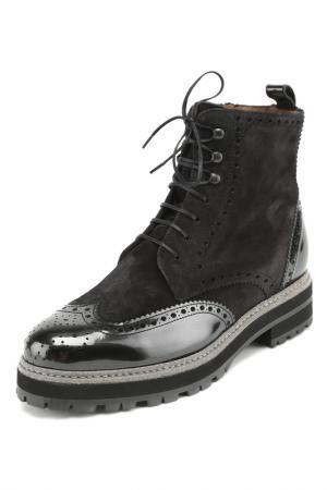 Ботинки с застежкой на молнию и шнурки Pertini. Цвет: черный