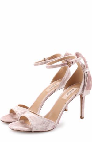 Бархатные босоножки Pretty Bow на шпильке Valentino. Цвет: светло-розовый