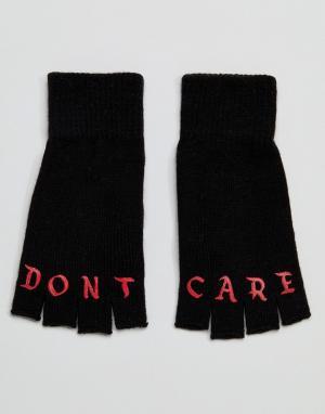 ASOS Черные перчатки без пальцев с принтом Dont Care. Цвет: черный