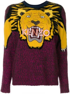 Свитер вязки интарсия с изображением тигра Kenzo. Цвет: розовый и фиолетовый