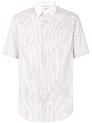 Рубашка в полоску с короткими рукавами Armani Collezioni. Цвет: розовый и фиолетовый