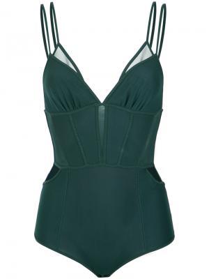 Tulle panels bodysuit Giuliana Romanno. Цвет: зелёный