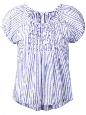 Полосатая блузка с рукавами-кап Bellerose. Цвет: белый