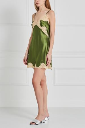 Шелковая сорочка Mathilda Sabbia Rosa. Цвет: зеленый