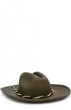 Соломенная шляпа с плетеным ремешком Artesano. Цвет: оливковый