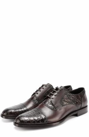 Классические кожаные дерби Napoli с отделкой из кожи крокодила Dolce & Gabbana. Цвет: коричневый