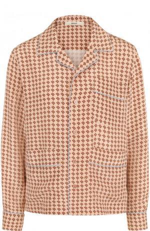 Шелковая блуза в пижамном стиле с принтом Bally. Цвет: розовый