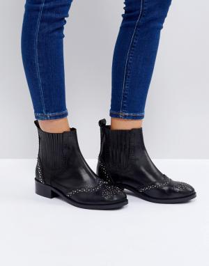 ASOS Кожаные ботинки челси с отделкой заклепками ALMA. Цвет: черный