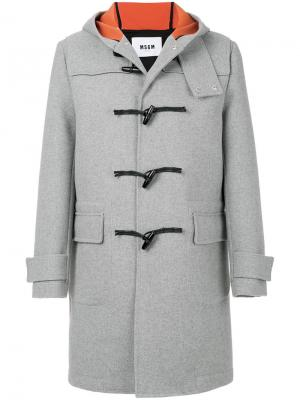 Дафлкот с капюшоном MSGM. Цвет: серый