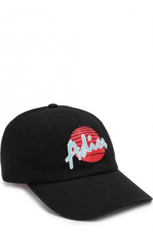 Хлопковая бейсболка с принтом Palm Angels. Цвет: черный