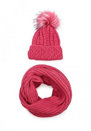 Комплект снуд и шапка Fete. Цвет: розовый