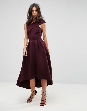 ASOS Приталенное платье миди на одно плечо с удлиненным кроем сзади. Цвет: фиолетовый