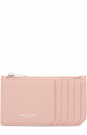 Футляр для кредитных карт с отделением на молнии Saint Laurent. Цвет: светло-розовый