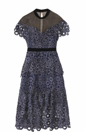 Приталенное кружевное платье-миди self-portrait. Цвет: синий