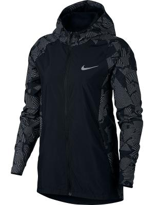 Куртка W NK FLSH ESSNTL JKT HD Nike. Цвет: черный