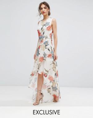 Hope and Ivy Асимметричное платье макси с цветочным принтом и оборками &. Цвет: мульти