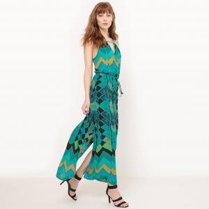 Платье длинное с тонкими бретелями и рисунком MOLLY BRACKEN. Цвет: рисунок/зеленый