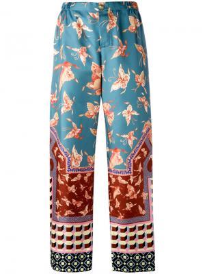 Прямые брюки в пижамном стиле F.R.S For Restless Sleepers. Цвет: синий