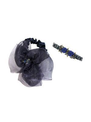 Комплект (Заколка-зажим, резинка) Lastoria. Цвет: синий