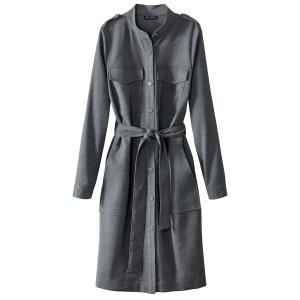 Платье прямое однотонное, средней длины, с длинными рукавами La Redoute Collections. Цвет: серый меланж