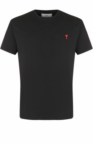 Хлопковая футболка с круглым вырезом Ami. Цвет: черный